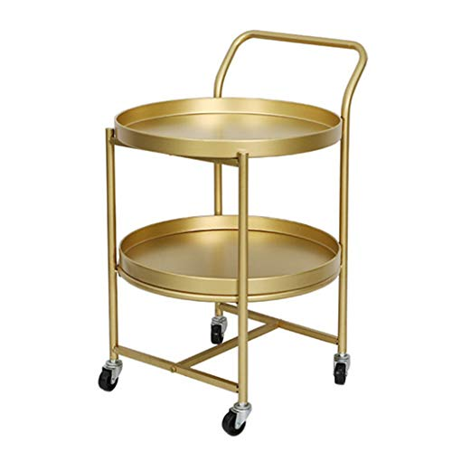 End Side Sofa Table,Iron Trolley Coffee Bedside Lamp Table,with Metal Frame and Pulley Rolling Castors,2-Tier