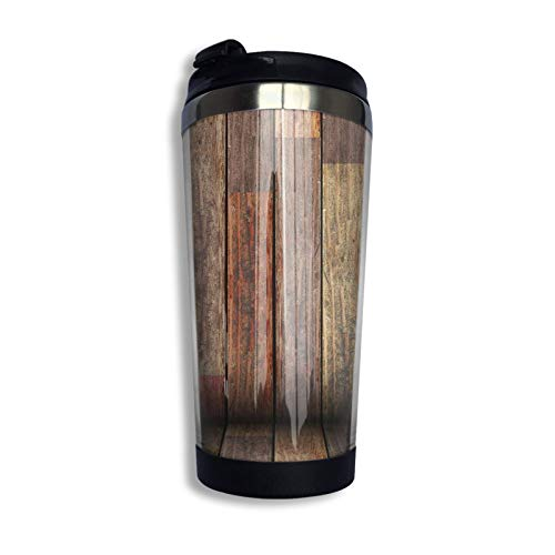 Taza de café de acero inoxidable con tapa Guitarra eléctrica en madera Música Country Vaso de viaje portátil Taza de café aislada al vacío
