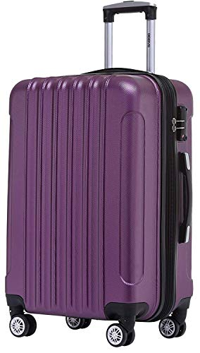 BEIBYE TSA Schloß 2050 Hartschale Trolley Koffer Reisekoffer in M-L-XL-Set (Violett, 55cm)