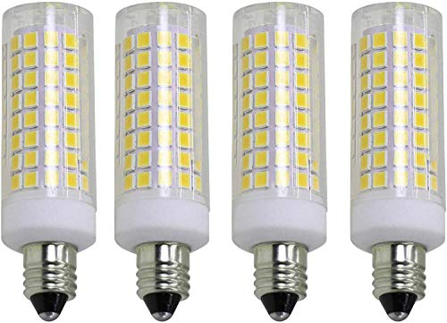 E11 led Bulb 75w 100w Halogen Bulb Replacement, JD T4 e11 Mini Candle Holder Base 110V 120V 130 Voltage Input Bulb. 4 Packs (e11 Daylight White)