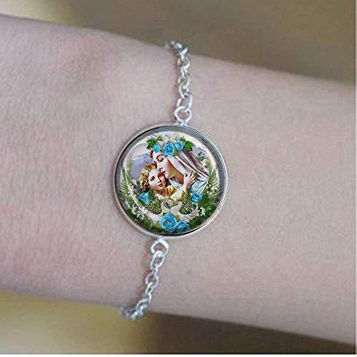 Pulsera de medalla religiosa de la Virgen María y el Bebé Jesús católico, joyería de cristal vintage