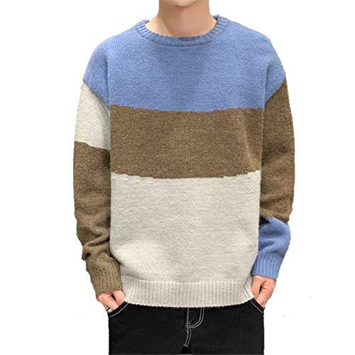 NQING Suéter De Cuello Redondo para Hombre Otoño/Invierno Tendencia Color Combinado Jersey Suéter Casual Suelto Adolescente Top