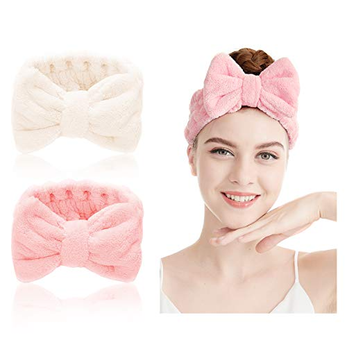 Bowknot Haarbänder - 2 Stücke Haarband für Make Up Spa Stirnband Plüsch Stirnband Elastisches Haarband Kosmetische Stirnbänder Haarband Gesicht Waschen Haarband Süßes Stirnband (Farbe B)