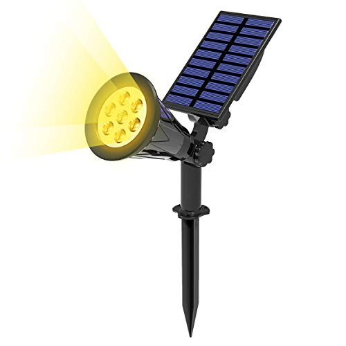 T-SUN 7 LED Foco Solar, Impermeable Luces Solares Exterior, Luz de Jardín, 2 Modos de Iluminación Opcionales, ángulo de 180° Ajustable, Luz de Proyecto Solar para Entrada, Camino.(3000K)