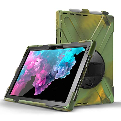 JZ 360 Degrees Kickstand Case Cover Compatible with Microsoft Surface Pro 7/6/5/4 Stand Case with Wrist Strap,Shoulder Strap and Pencil Holder - Camouflage