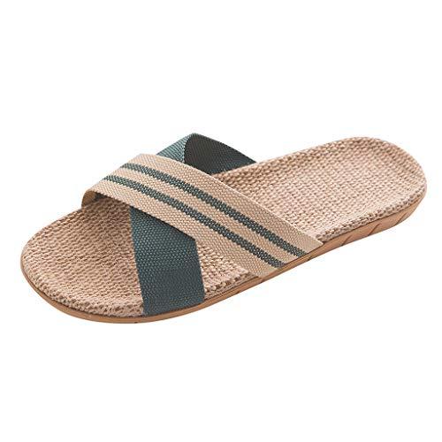 Yowablo Hausschuh Slipper Schuhe Pantoletten Mode Anti-Rutsch-Leinen Home Indoor Open Toe Flache Schuhe Strand Hausschuhe (40-41 EU,Grün)