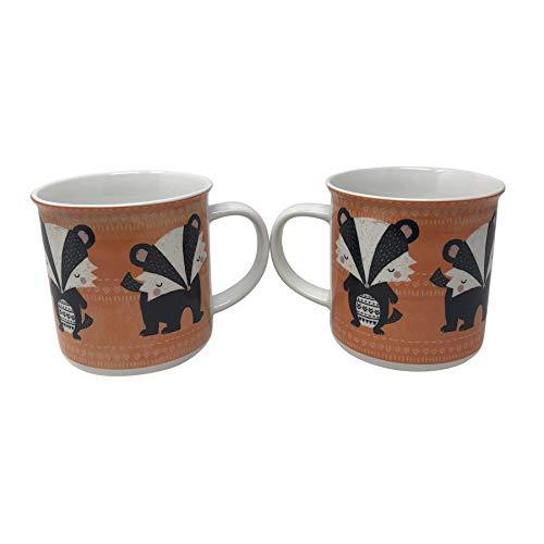 Woodland Badger - Taza para beber (porcelana, color naranja y negro, blanco y negro)