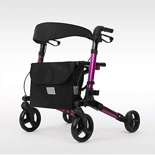 Ffion Premium Aluminium-Rollator,Höhe Verstellbar 4-Rad Faltbar mit Bremse(Gold/Rosa),Pink
