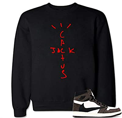 Men's Cactus Jack Retro 1 Crewneck Sweater - XL Black by