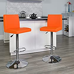 Flash Furniture 2-Pack Contemporary Vinyl Adjustable Height Bar Stool with Chrome Base