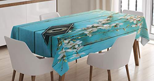 ABAKUHAUS Bois Rustique Nappe, Printemps Blanc Cerise, Linge de Table Rectangulaire pour Salle à Manger Décor de Cuisine, 140 cm x 240 cm, Bleu pâle et Multicolore