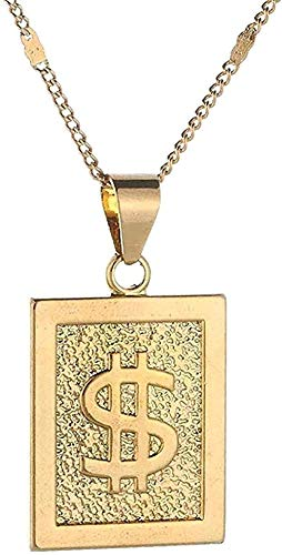 NC190 Collar con Colgante de Moneda de Color Dorado, Collar de Hip Hop Rap Singer, símbolo de dólar Estadounidense Largo, Accesorios de joyería para Mujeres, Hombres, Collar de Regalo