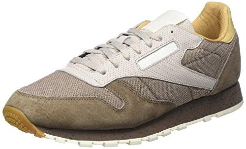 Reebok Herren Classic Leather SM Sneaker, Beige (Stone Grey/Sand Stone/Urbn Gry/Beige/Chlk/Wht), 39 EU