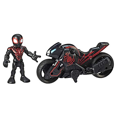 Super Hero Adventures Playskool Heroes Marvel Kid Arachnid Web Wheels, 5-Inch Figure and Motorcycle Set, Collectible Toys for Kids Ages 3 and Up