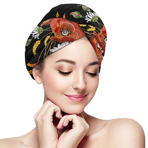 Toalla de secado rápido para el cabello, manzanillas y amapolas, microfibra superabsorbente, turbante para ducha, spa, sauna, playa, gimnasio