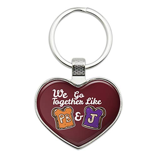 Peanut Butter and Jelly Together PB&J Best Friends Keychain Heart Love Metal Key Chain Ring