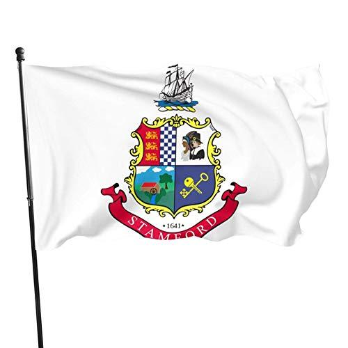 Bandera de la ciudad de Stamford, 3 x 5 pies, para exteriores, 100% poliéster translúcido de una sola capa, 3 x 5 pies