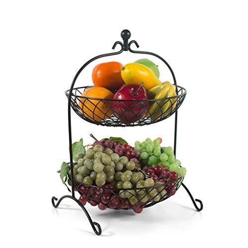 Panier à fruits Panier à fruits Salon Coupe à fruits En métal Deux couches Panier à fruits Panier de rangement pour la cuisine Panier à fleurs -0