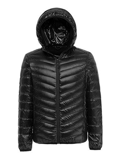 Lanmay Men's Ultralight Packable Hooded Down Jacket Puffer Down Coats (Medium, Black)