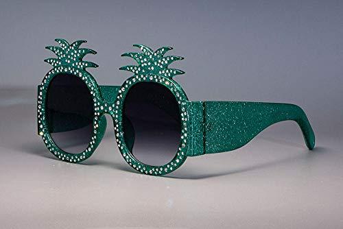 U/N Gafas de Sol de Diamantes de imitación de Colores Brillantes con Montura de piña para Mujer, Gafas de Moda para Mujer, Sombras-5
