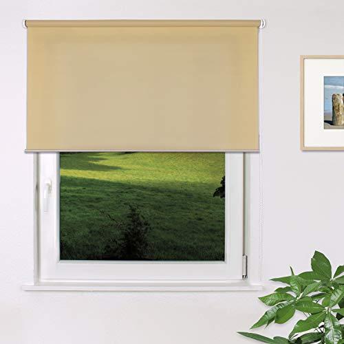 Fensterdecor Fertig Sichtschutz-Rollo, Tageslicht-Rollo mit praktischem Seitenzug für stufenloses Verstellen, Blickschutz-Rollo in Creme, lichtdurchlässig und Blickdicht, 180 x 180 cm