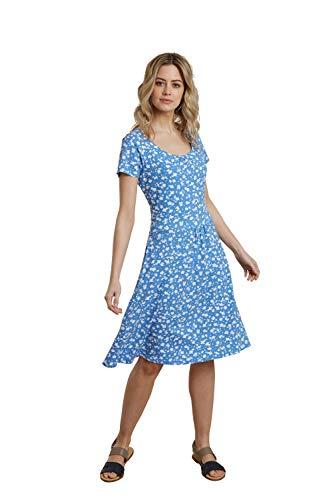 Mountain Warehouse Orchid Gemustertes Damenkleid mit UV-Schutz - Strandkleid, leichtes Sommerkleid, Taschen, sportliches Tageskleid - Für Frühling, Reisen, Pool Hellblau 40