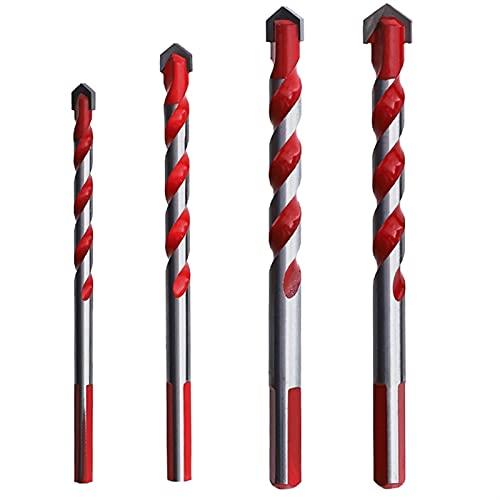 4PCS 6 8 10 1 Aleación de brocas de cerámica de cerámica de cerámica de cemento de 2 mm Aleación multifuncional del orificio triple-lineado multifuncional (Color : Red)