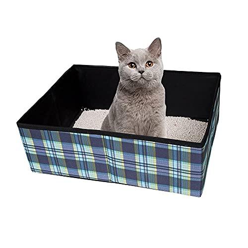Ardermu Katzentoilette Faltbar Katzenklo Faltbar,wasserdichte Stofftier Katze Kitty Katzenklo Carrier für Reisen Camping Heimgebrauch Leicht und einfach zu reinigen, 39x29x14cm