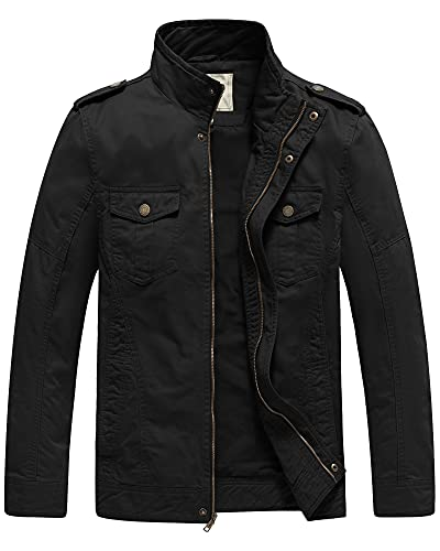 WenVen Men s Military Canvas Work Jackets and Coats (Black 1, Large)