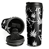 Coffee Cup Wormer Black White Marijuana Leaf and Prescription Symbol Double Insulated Travel Mug Double Wall Water Bottle,Black Lid,17 OZ,No-Handle Tumbler Cup for Men&Women Keep Hot/Ice Tea and Beer
