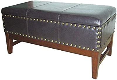 Fabulous Amazon Com Homepop Leatherette Storage Bench With Wood Tray Inzonedesignstudio Interior Chair Design Inzonedesignstudiocom