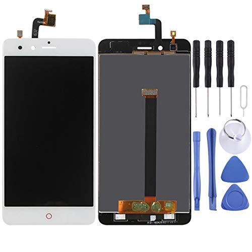 Liluyao Piezas de reparación de móviles ZTE Nubia Z11 Mini / NX529J Pantalla LCD Pantalla táctil digitalizador Asamblea (Color : Blanco)