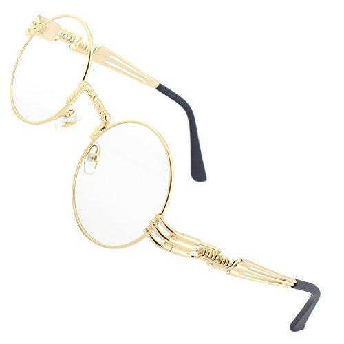CGID Retro Sonnenbrille im Steampunk Stil runde Metallrahmen Herren Damen Gold Rahmen Transparent Gläser, CAT3, CE, E73