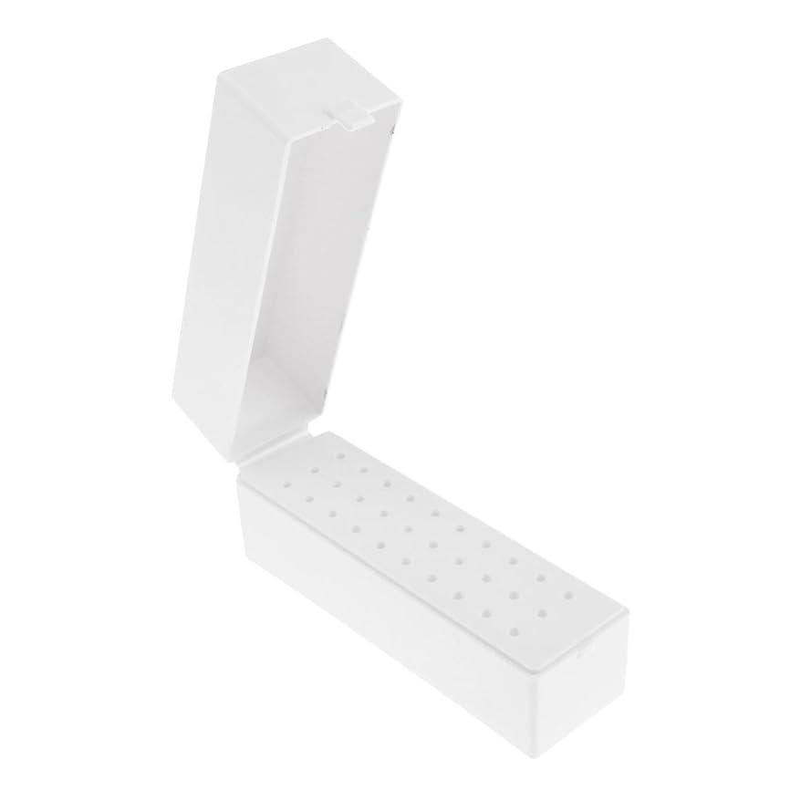 30穴プラスチックネイルアートツールボックスネイルドリルビットホルダー防塵スタンド収納オーガナイザー