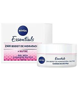 NIVEA Cuidado de Día Nutritivo (1 x 50 ml), crema facial con protector solar 15 y protección UVA, crema de día de cuidado esencial para piel seca, 24h boost hidratación