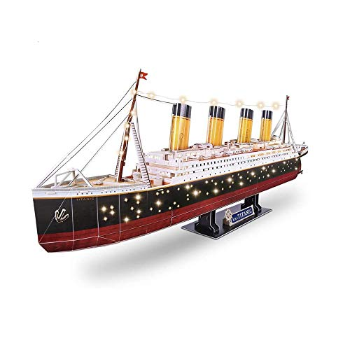 MKJHEDLSC 3D Jigsaw Puzzles for Adults LED Toys Model Kits Ship, Jigsaw Family Puzzles and Cruise Ship Gifts Home Decoration for Kids and Adults, 266 Pieces