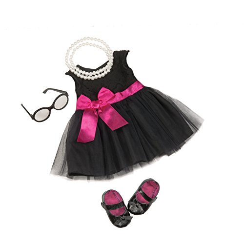 Our Generation 44582 Audrey Dress & Pearls Deluxe Outfit, Schwarz