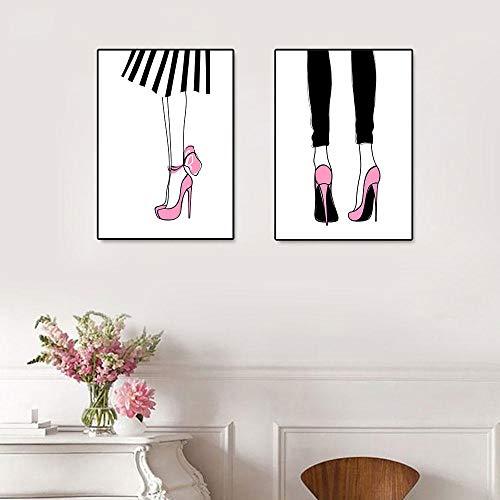 Suuyar roze poster make-up foto's high fashion posters wimper hoge hakken canvas schilderij kunst aan de muur moderne mode meisje huisdecoratie-40x60cmx2pcs geen frame