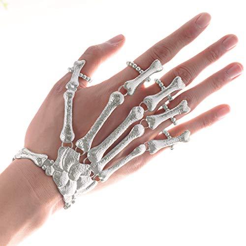 ZOYLINK Halloween Ring Armband Handkette Skelett Finger Armband Hand Ring Armband für Halloween Kostüm Zubehör