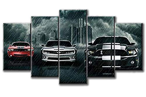 Dionysios Print Framed Canvas Super Cars Dodge Challenger Chevrolet Camaro Ford Mustang Shelby 5 Pieces Wall Art Decor Ready to Hang on The Wall with Frame - Size 1