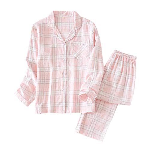 LEYUANA Pijama de Cuadros Escoceses para Mujer, Ropa de Dormir de algodón, Dulce, Manga Larga, Pijama para Mujer M Rosa