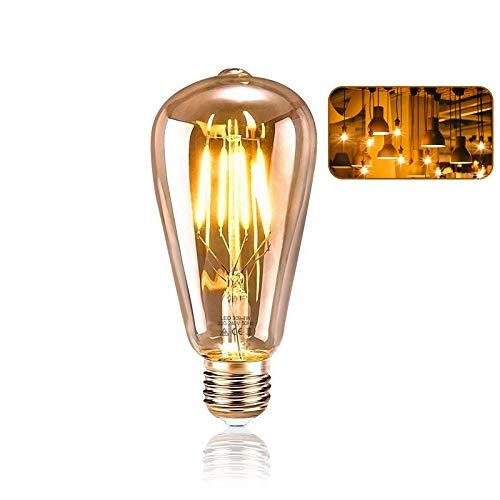 Edison Glühbirne E27, KIPIDA Retro Glühbirne 4W LED Vintage Beleuchtung ST64 Ideal für Retro Beleuchtung im Haus Café Bar Musikzimmer Restaurant Hochzeit Weihnachten Dekoration usw, Amber Warm(1 pack)