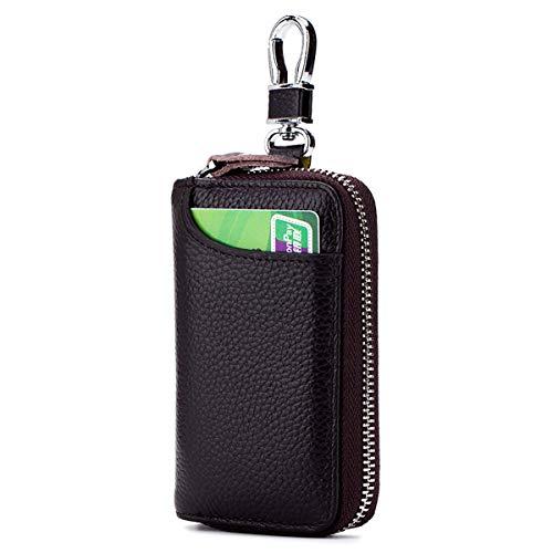 Aileder Genuine Leather Car Keychain Key Holder Case Bag Wallet Cover with Zipper Credit Card Holder (Dark Brown)