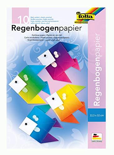 folia 765 - Mappe mit Regenbogenpapier, farbig sortiert, 10 Blatt, 100 g/qm, ca. 22,5 x 32 cm, einseitig bedruckt, ideal für kreative und bunte Bastelarbeiten