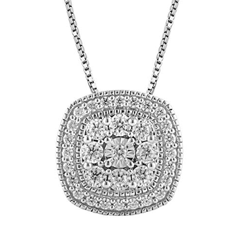 1/2 Carat Stunning Diamond, Pave-Set 925 Sterling Silver Round-Cut Diamond Cushion Halo Pendant Necklace (I-J, I2-I3) Real Diamonds for Women and Girls with gift box included by La4ve Diamonds