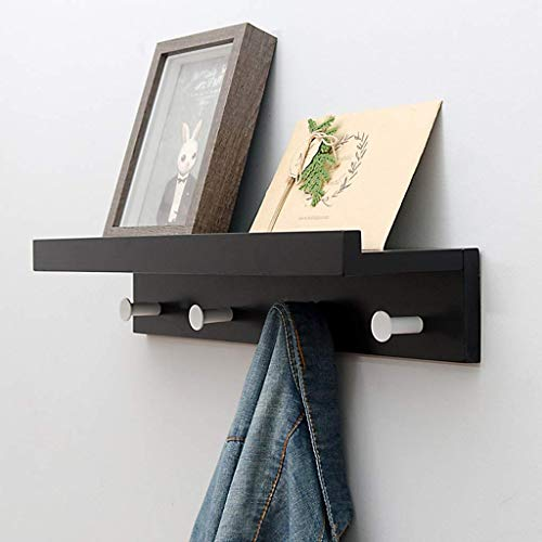 Perchero de pared o toallero con estante abierto, madera de bambú y ganchos para el salón, baño, cocina y guardarropa, estante para ropa con estante (color: negro, tamaño: 4 ganchos)
