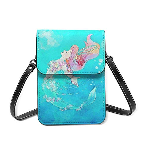 Beautiful Ariel Princ Cell Phone Purse with Credit Card Slots Crossbody Shoulder Bag for Women Teen