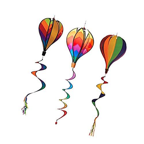 MagiDeal 3 Stücke Bunte Heißluftballons Windspinner Windspiel Windsäcke Garten Outdoor Spielzeug
