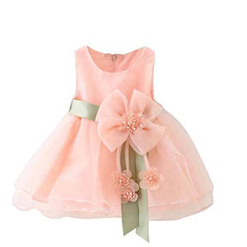 SMARTLADY Bebé Niñas Princesa Vestido Sin Mangas De Encaje del Hilado (18 Meses, Rosa)