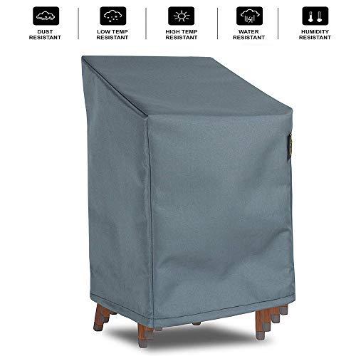 HENTEX Abdeckung für aufeinandergestapelte Gartenstühle, Wasserdicht, Winddicht, UV-Beständiges, Mit Zugband und Befestigungsclips, bis zu 4 Stühle, Grau, 75x78DxH65/110 cm